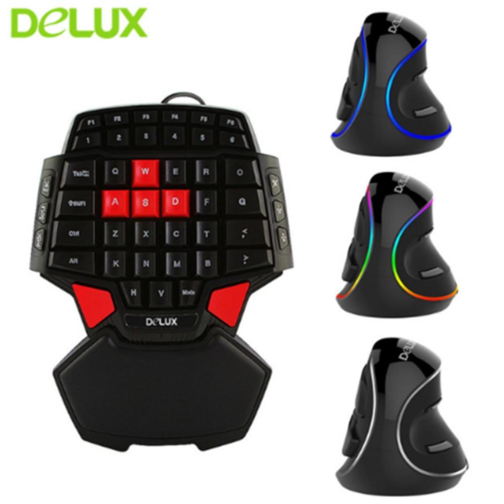 Delux T9 clavier de jeu Mini 47 touches clavier M618 Plus souris verticale ergonomique claviers à main unique souris Set LOL DOTA 2 Gamers