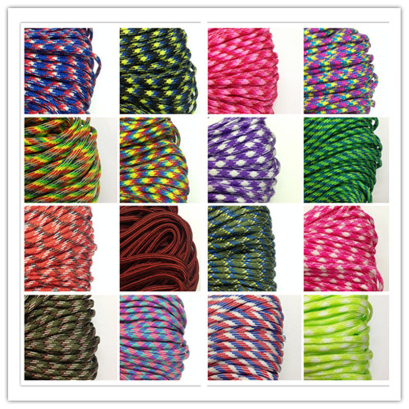 550 Paracord Parachute Cord Lanyard Tent Rope Guyline Mil Spec Type III 7 Strand 25FT For Hiking Camping(China)