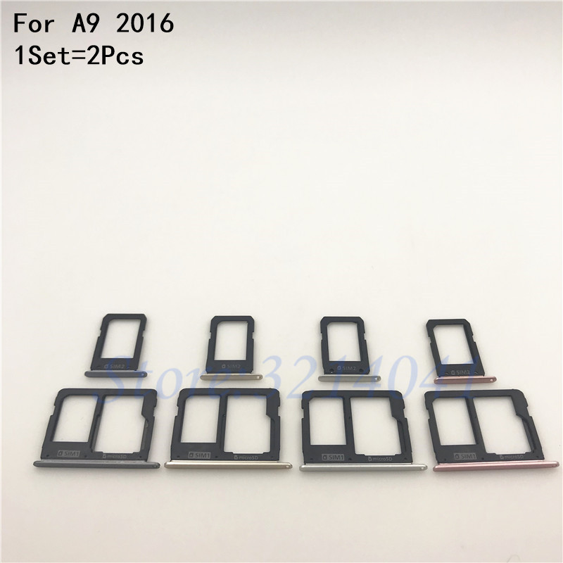 1Set SIM Card Tray Slot Holder Adapter + Micro SD Card Holder For Samsung Galaxy A9 2016 A910 A9 Pro