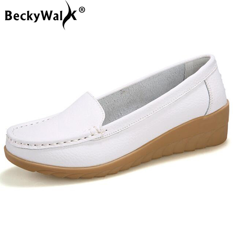 BeckyWalk Summer season Girls Footwear Breathable Lower-outs Informal Footwear Girl Real Leather-based Wedge SlipOn Loafers Moccasins 35-41 WSH2740 leather-based wedges, sneakers girl real leather-based, real leather-based wedges,Low cost leather-based...