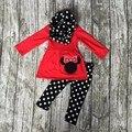 Outono/Inverno ROUPAS novo bebê vermelho preto 3 peças cachecol roupas dot minnie top ruffle pant conjuntos de roupas de algodão meninas boutique