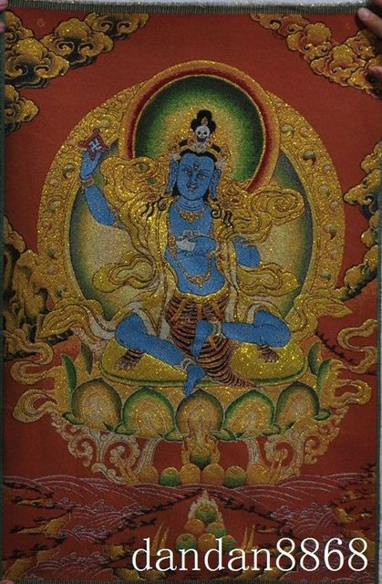 US $18 88 |36 inch Tibet Silk embroidery 6 Arms Mahakala Wrathful Deity  Buddha Tangka Painting Mural-in Embroidery from Home & Garden on