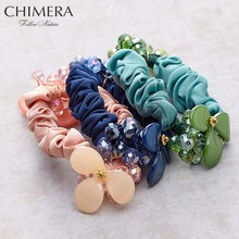 3 unids candy color cuerdas lazos elásticos del pelo banda de goma de lujo Haar Scrunchies Pelo Anillo de Goma Color de La Manera de acrílico de La Flor de Cabeza cuerda