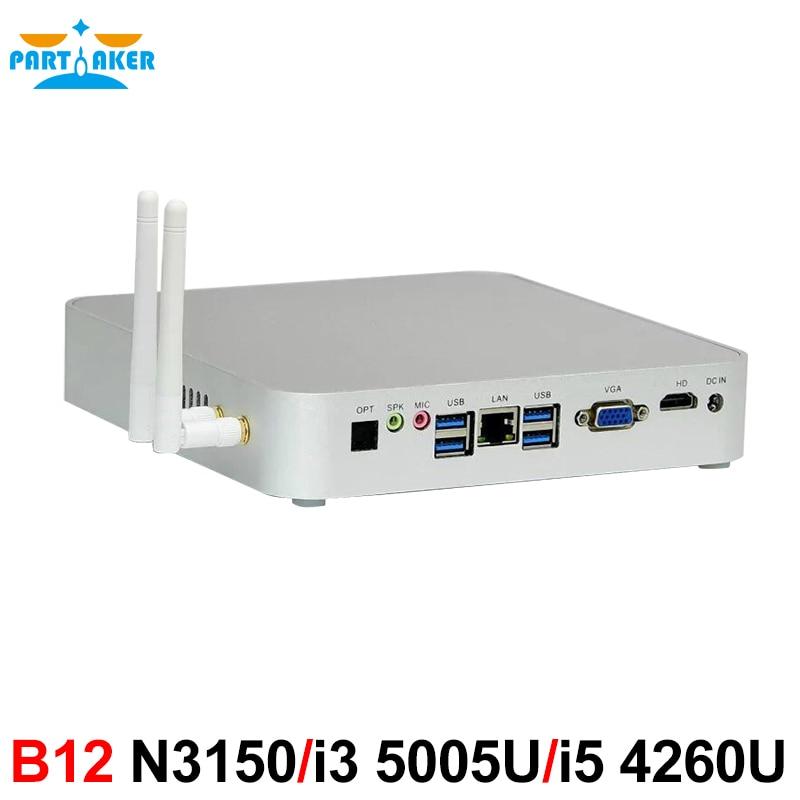 Partaker B12 N3150 i3 5005U i5 4260U Processor Ubuntu or Windows 10 Vga Mini PC with Fan canton chrono cl 580 2 dc cherry gold