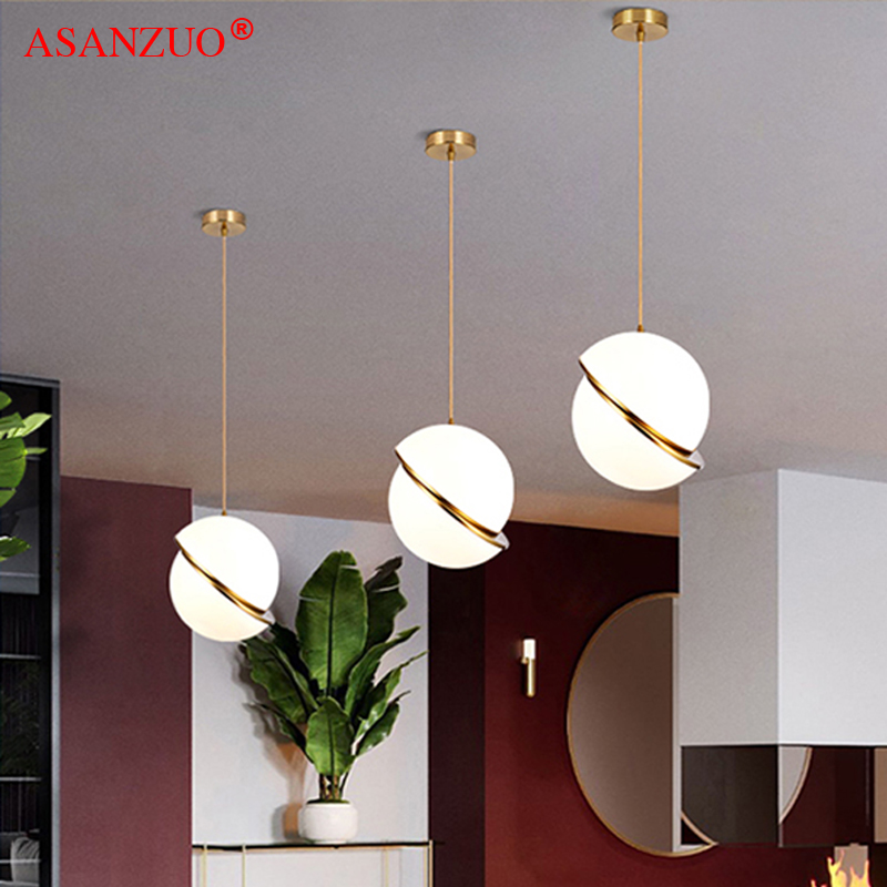 Nordic Modern White Ball Bubble Led Pendant Lights Kitchen Living Room Restaurant Bedroom Gold Ring Hanging Lamp