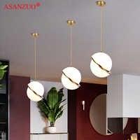 Nordic modern White ball bubble led pendant lights kitchen living room restaurant bedroom gold ring hanging lamp