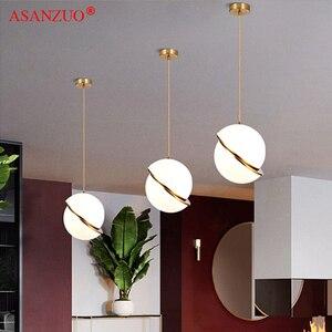 Image 1 - נורדי מודרני לבן כדור בועת led תליון אורות מטבח סלון מסעדת חדר שינה זהב טבעת תליית מנורה