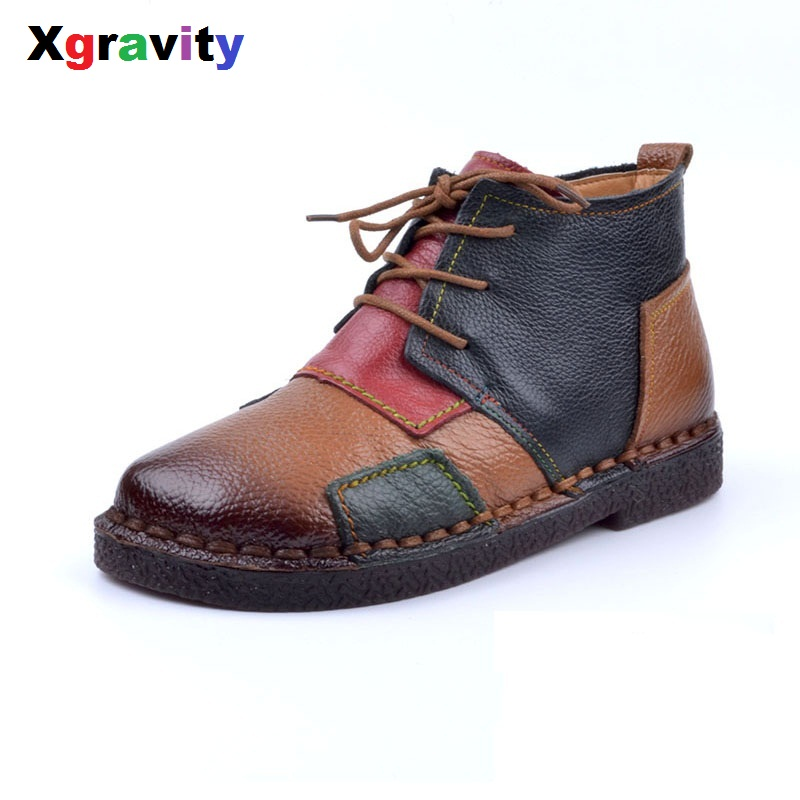 XGRAVITY Lace-Up Lady Hand-Made Vintage Cow Genuine Leather Ankle Boots Fashion ladies Casual Round Toe Soft Woman Shoes  S032-1 ladies casual lace up flat ankle boots fashion round toe plain cow leather boots for women female genuine leather autumn boots