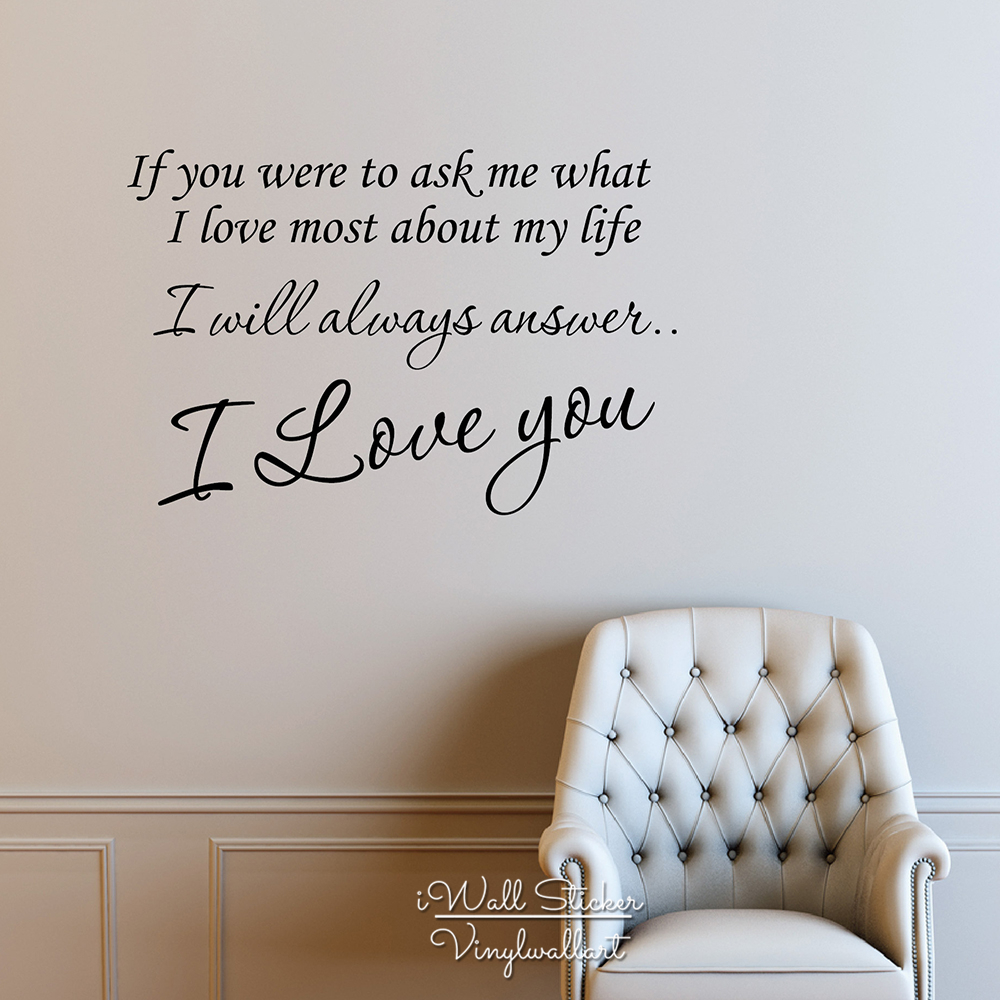 Love Wall Quotes Beauteous I Love You Quote Wall Sticker Love Quote Wall Decal Love Wall