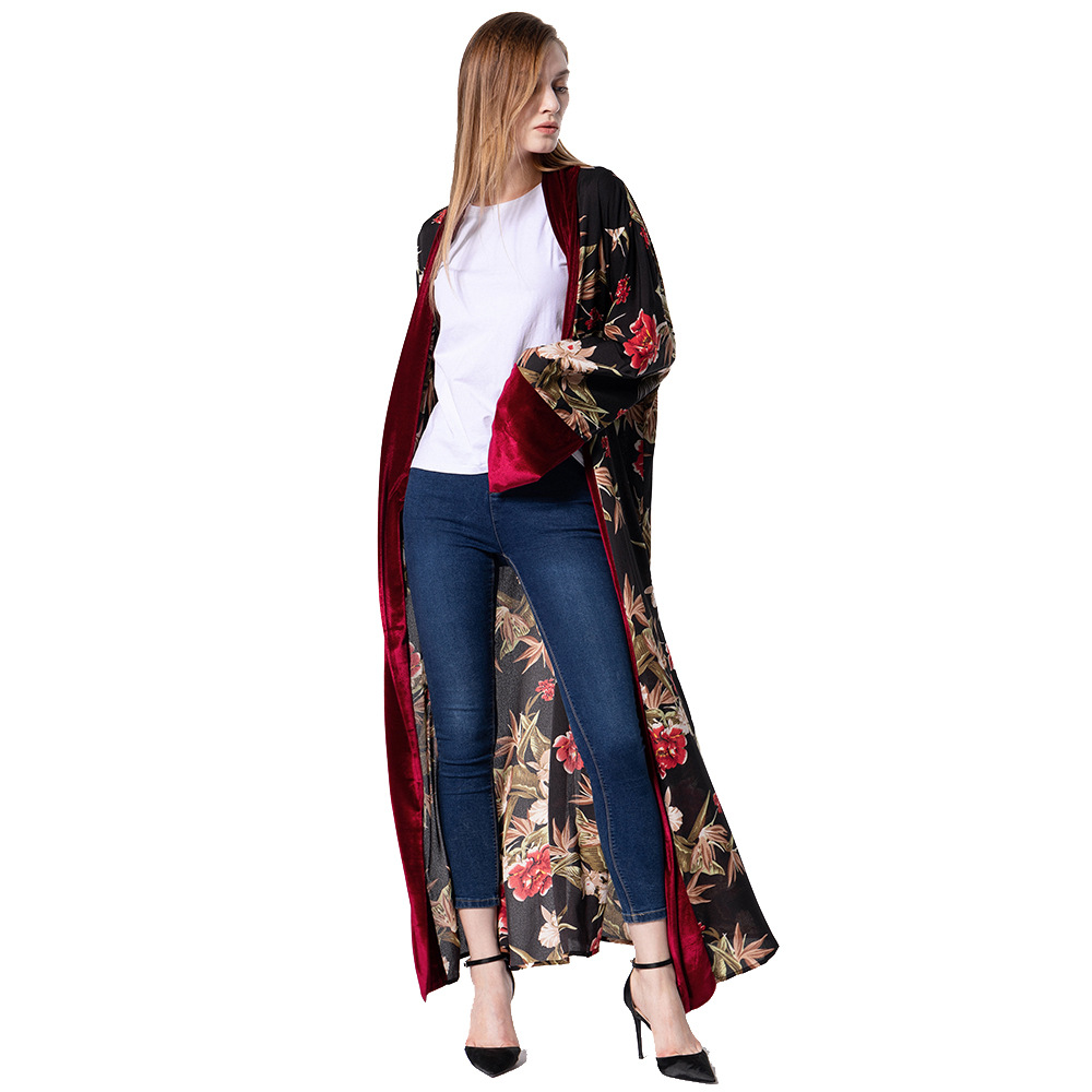 Women Trench-Coat Velvet Vintage Cardigan-Gown Female Long Fashion Casual Plus-Size And