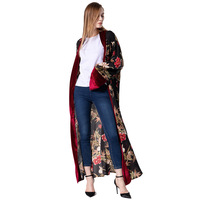 2019 Fashion Plus Size Casual Vintage European and American Long Trench Coat Women Clothes Velvet Cardigan Gown Female JZ005