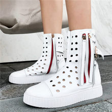 2019 Summer Oxfords High Top Tennis Shoes Women Genuine Leather Low Heels Ankle Boots Breathable Platform Trainers Casual