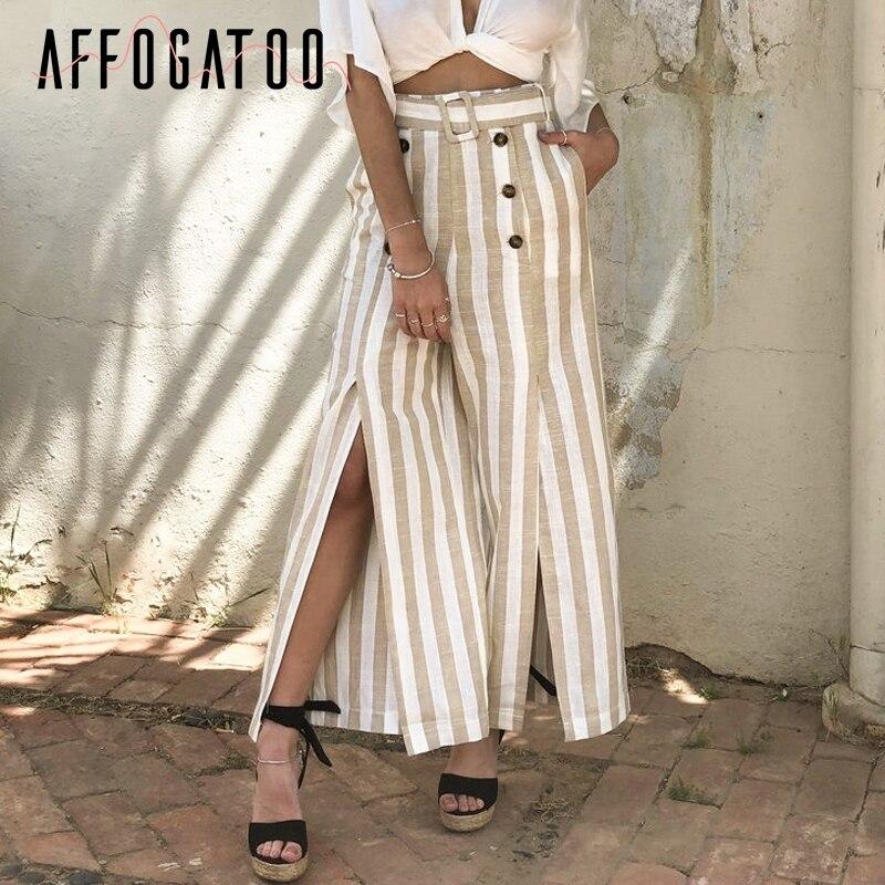Affogatoo Casual striped split sash   pants   women Elastic high waist wide leg button linen trousers Elegant female spring   capris