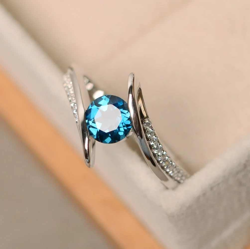 925 เงิน Infinity Endless Love แหวนสำหรับผู้หญิงสีฟ้า/สีม่วง CZ Anel แหวนหญิงเครื่องประดับ Promise ของขวัญ