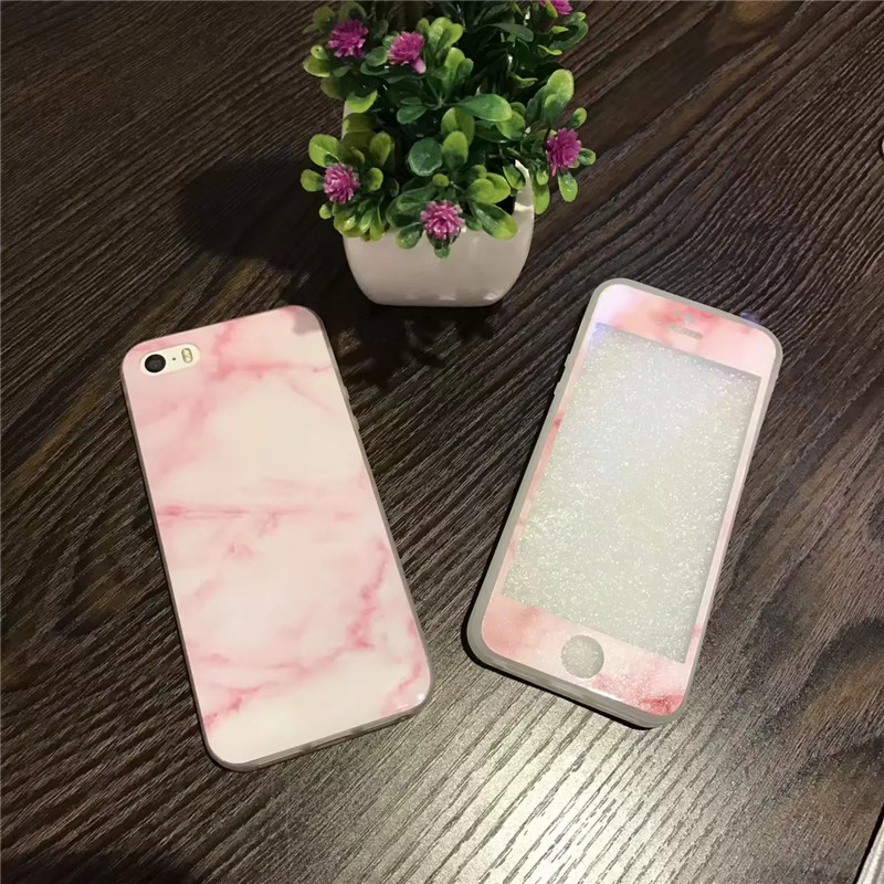 Marble Stone Mobile Phone Housing Fashion Front Screen Protector + Glossy IMD Back Cover Fundas Cases For iPhone 5 5s Capa Coque