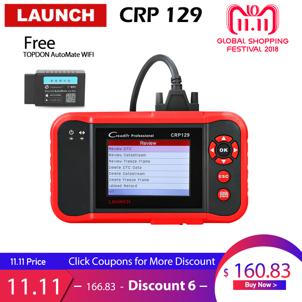 LAUNCH CRP129 Scanner Automotivo obd2 OBD obd 2 Car Code Reader Scan Tool Pro 2018 Launch X431 VIII Auto OBDII Diagnostic Tool launch direct store x431 easydiag 2 0 obd2 code reader easy diag 2 0 with bluetooth support all cars with 16 pin obd port