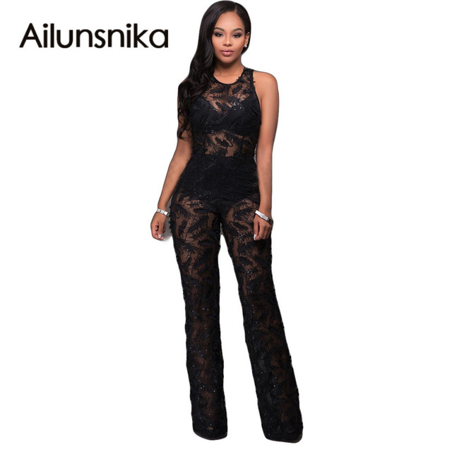 Ailunsnika 2017 Summer New Arrival Rompers Sexy Black See Through Sleeveless Lace Jumpsuit Overalls For Women OS2158