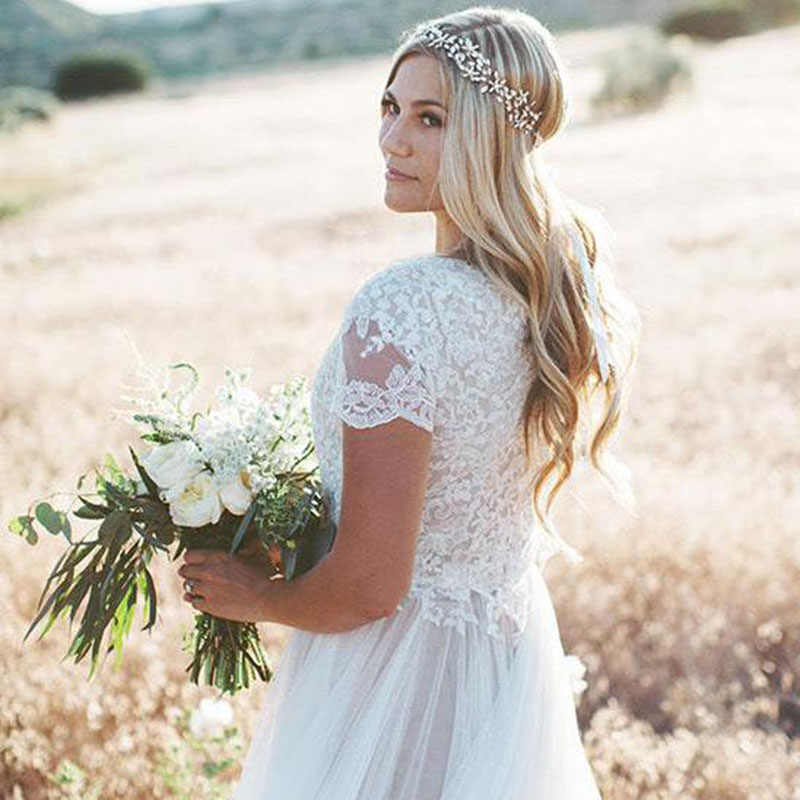 LORIE Vestido de Noiva Colher Mangas Lace Top A Linha Tulle Saia Curta Praia Vestido de Noiva Boho Do Vestido de Casamento Frete Grátis 2019