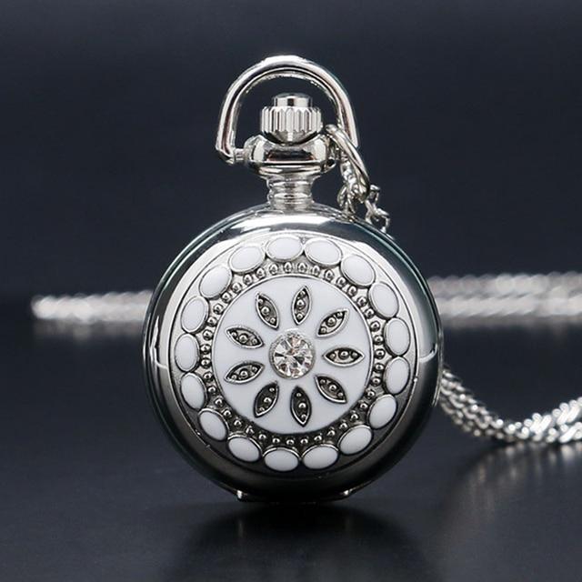 Fashion Silver Flower Quartz Pocket Watch Necklace Pendant Women Lady GIft P205