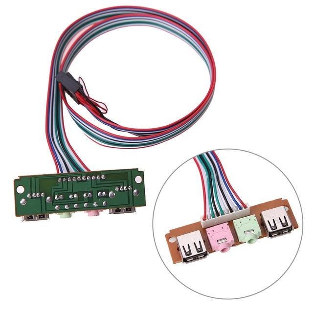 2 USB 2.0 PC bilgisayar kasa ön Panel USB ses jakları Port masaüstü bilgisayar USB uzatma tel için mikrofon kulaklık kablo kordonu