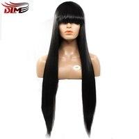 DLME Wysokiej Temperatury Włókna Syntetyczne Włosy Glueless Jedwabiście Prosto Koronki Przodu Peruka Z Pełnymi Grzywką Dla African American Kobiet