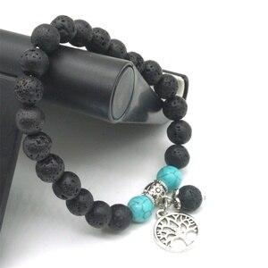 Image 5 - Liebhaber Baum des Lebens 8mm Lava Stein Kallaite Healing Balance Perlen Reiki Buddha Gebet Ätherisches Öl Diffusor Armband Schmuck