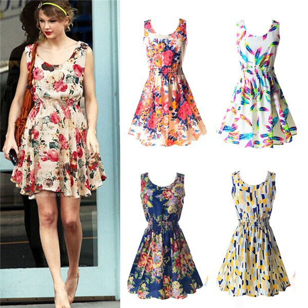 Casual Summer Chiffon Dress Women Clothes 19 Sexy Floral Short Beach Dresses Korean Elegant Vestido De Festa Verano Robe Femme 11