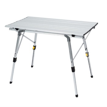 Portable Folding Camping Table Aluminum Alloy Height-Adjustable Rolling Table for Outdoor Camping Picnic