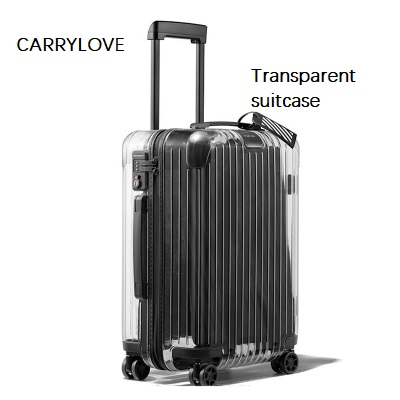 CARRYLOVE Latest fashion The New Transparent suitcase 20/22/24/26 inch size PC Rolling Luggage Spinner brand