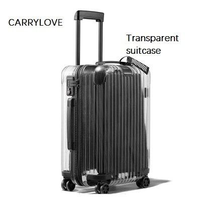 CARRYLOVE Ultima moda Il Nuovo Trasparente valigia 20/22/24/26 pollice dimensioni PC Trolley Spinner marca