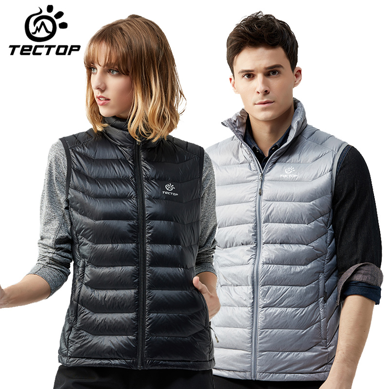 Tectop outdoor sports/hiking/camping cardigan ultra light ultra thin windproof waterproof keep warm down vest for Men and Women outdoor sports mirror windproof dust for women and men