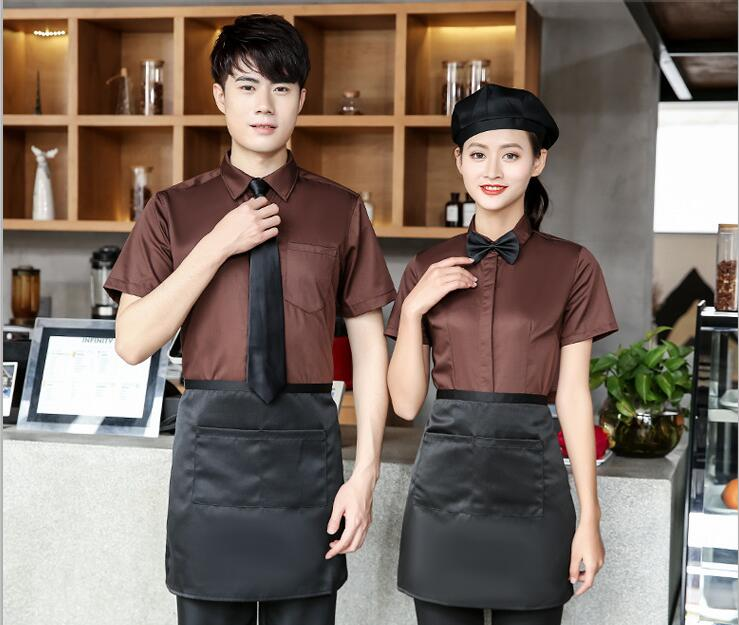 Hot Pot Waiter Uniforms Work Clothes Short-sleeved Coffee Restaurant Fast Food Catering Overalls Food Service Waiter Clothing