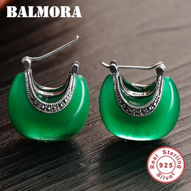 BALMORA 100% Real 925 Sterling Silver Women Earrings Jewelry Retro & Elegant Opal Stud Earrings for Women Moon Shape MYS30283