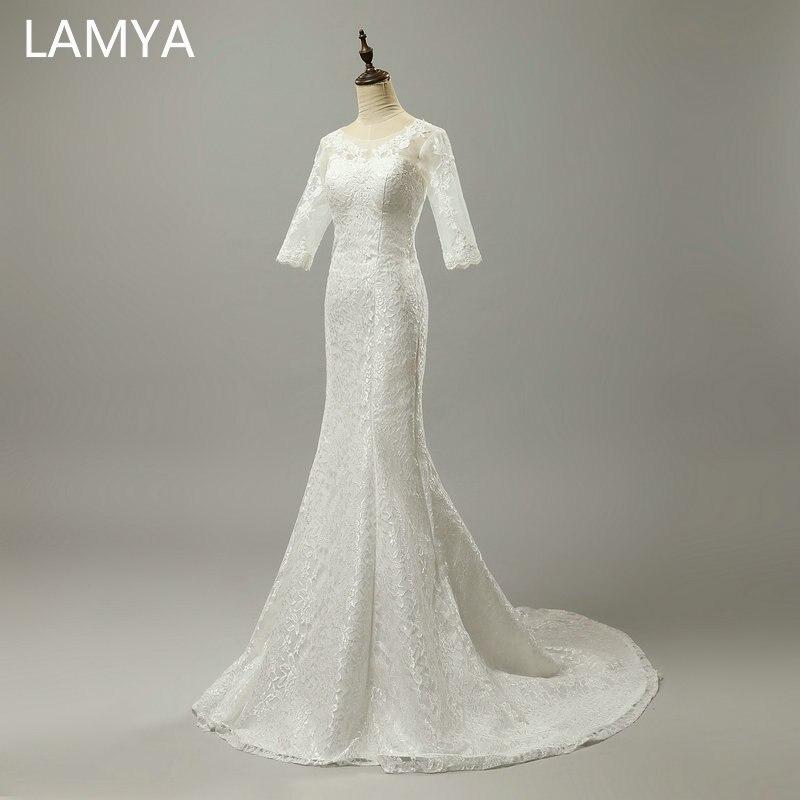 Mermaid Wedding Dresses Half  Sleeve Off-White Wedding Dress Princess Dubai Bridal Dresses Vestido De Novia Vintage