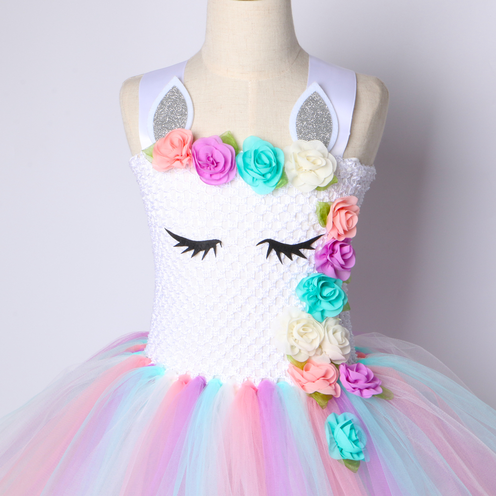 Flower Girls Unicorn Tutu Dress Pastel Rainbow Princess Girls Birthday Party Dress Children Kids Halloween Unicorn Costume 1-14Y