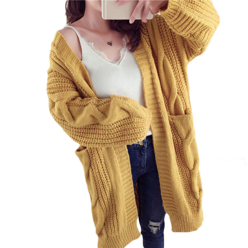Winter Section New Korean Female yellow Twist Sweater dark Large Women Cardigan Loose Red Blue wine Coat Size Autumn Lq347 2018 Long Thicken Green 7UWZd7