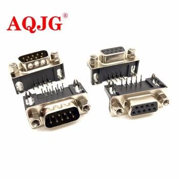 цена на DB9 Male Female PCB Mount D-Sub 9 pin PCB Connector RS232 Connector 90 Degree 10pcs Wholesale AQJG