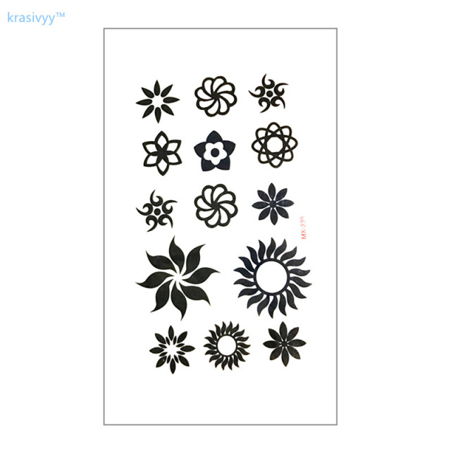 Waterproof temporary tattoo sticker on body art cute black flower finger water transfer flash tattoo fake