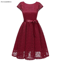 fcbabc0042 Burgundy Lace Bridesmaid Dresses Short Knee Length Cap Sleeves Zipper Back  Sashes 2019 Party Gowns Vestidos