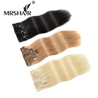MRS HAIR Clip In Human Hair Extensions Black 18 20 22 Blonde Full Head Set Natural Clip Machine Made Remy Hairpins Straight