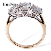 TransGems 3 CTW F Colorless Moissanite Three Stone Wedding Anniversary Engagement Ring In 14K Two Tone