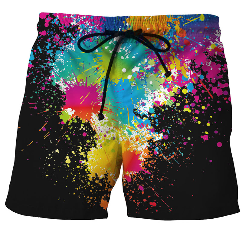 Splash Ink 3D Printed Beach   Shorts   Men Brand Design Men's   Board     Shorts   2018 Summer Quick Dry Mesh Trunks   Shorts   Bermudas Hommes