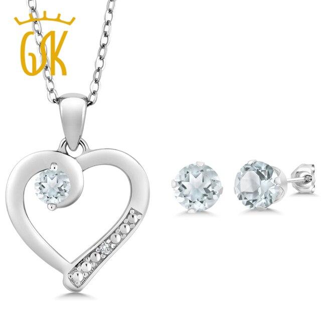 d8d52e87f42 Incrível EUA Aquamarine 1.74 Ct e Sotaque de Diamante de Prata Esterlina  925 Brincos de Pingente