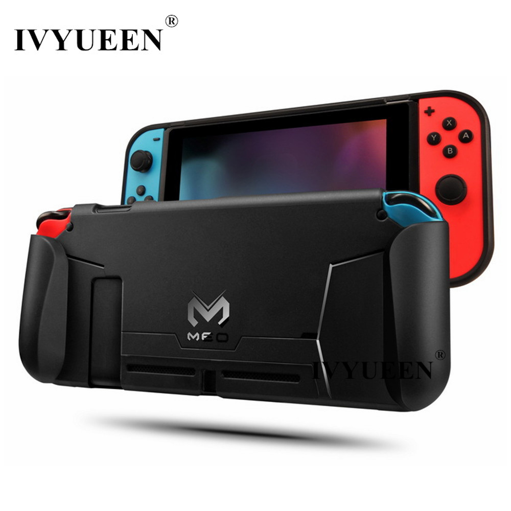 IVYUEEN for Nintend Switch Console TPU Protective Grips Cover Case Stores 4 Games for Switch Controller Shock-Absorption nintend switch ns soft tpu grip case ergonomic anti scratch shock absorption protect cover holder for nintendos switch console