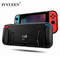 IVYUEEN for Nintend Switch Console TPU Protective Grips Cover Case Stores 4 Games for Switch Controller Shock-Absorption