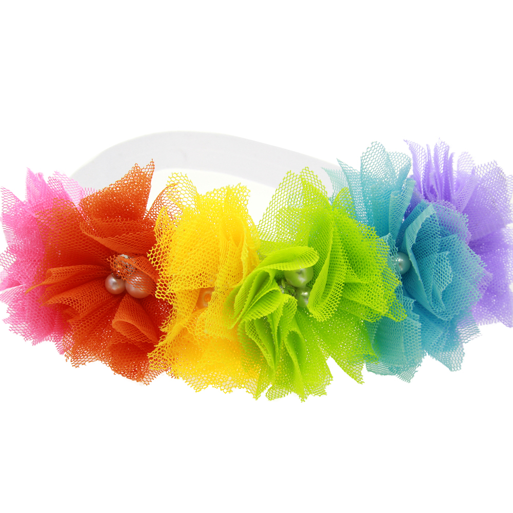 Lovely Kids Girl Flowers Headband Lace Pearl Hairband Elastic Turban Rainbow Hair Accessories Headdress Headwear Tiara