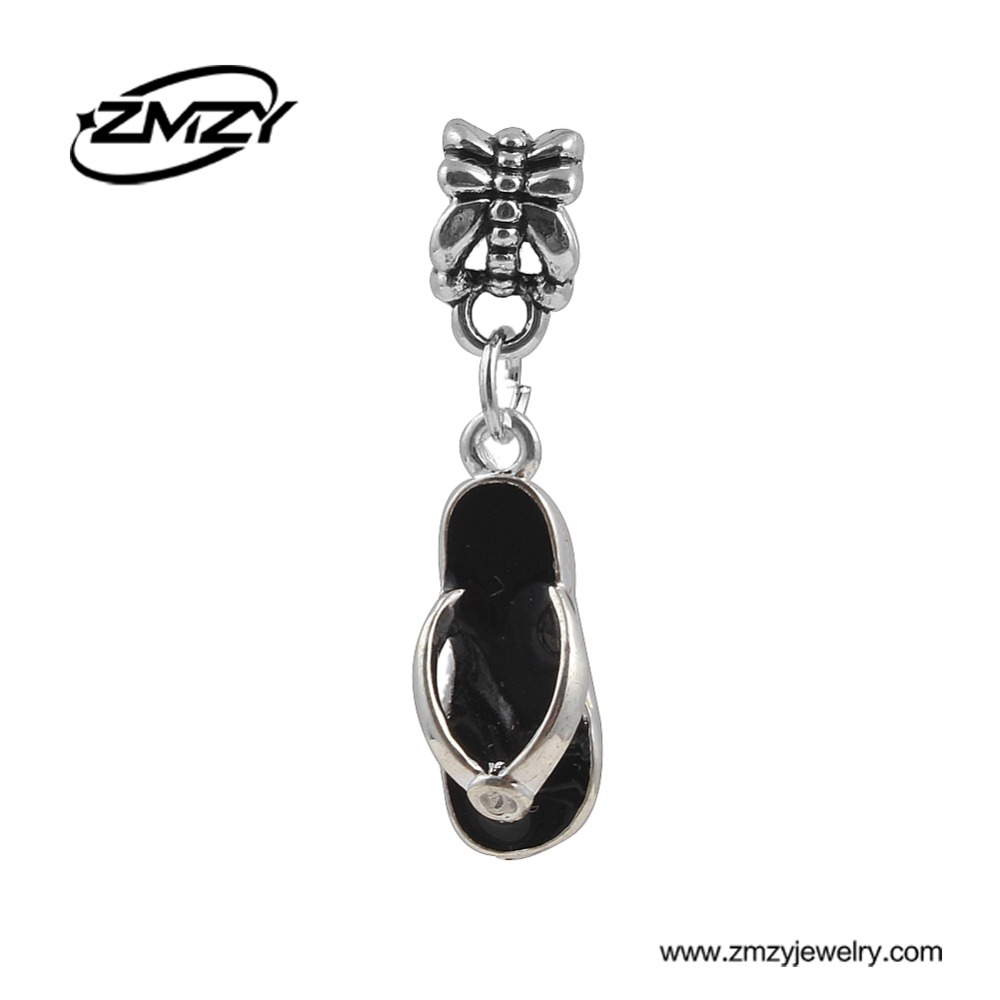 New Silver Plated Slippers Pendants Bead with Black Enamel European Style Jewelry fits Pandora Charm Bracelets & Necklaces