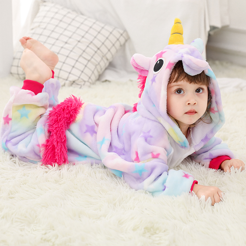 Girls Boys Winter Kigurumi Pajamas Unicorn Cartoon Anime Animal Onesies Sleepwear Coral Fleece Warm Jumpsuit Children Pajamas
