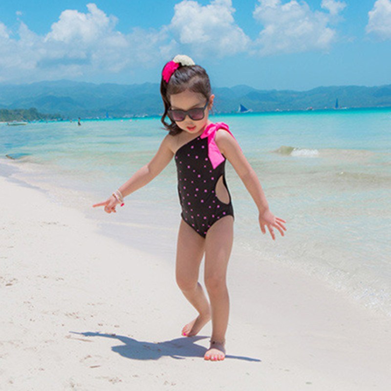 Funfeliz One Piece Swimsuit Girls Cute Dot  Swimwear for Kids 2-10 Years Children Sports bathing suits Girl Bather