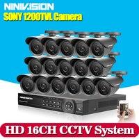 บ้าน16ch AHD DVRกับSONY 1200TVLความปลอดภัยในร่มกลางแจ้งกล้องระบบกล้องวงจรปิดเฝ้าระวังvideoชุด16ช่องต่อhdmi 1080จ...